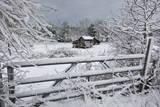 Snow Covered Gate and Old Farm Vinilo decorativo por Henri Silberman