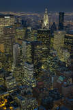 New York City, Top View with Chrysler Building (Night) Veggoverføringsbilde av Henri Silberman