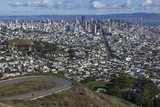 Twin Peaks View of San Francisco, CA 2 (City with Bay and Clouds) Muursticker van Henri Silberman