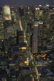 New York City, Top View 8 (Looking Up Fifth Avenue, Night) Muursticker van Henri Silberman