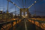 On Brooklyn Bridge Night 3 (Walkway, Arches, Lower Manhattan) Muursticker van Henri Silberman