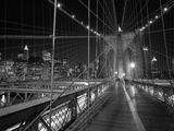 On the Brooklyn Bridge Night Metal Print by Henri Silberman