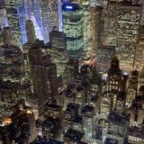 New York City, Top View 10 (Met Life Building, Looking North, Night) Muursticker van Henri Silberman