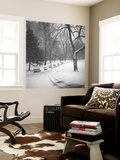 Central Park Benches - Central Park, NYC in Snow Mural por Henri Silberman