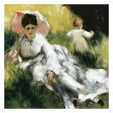 Femme à l'ombrelle et enfant Posters by Pierre-Auguste Renoir