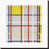 New York City, 3 Pingotettu canvasvedos tekijänä Piet Mondrian