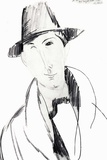Man with hat drawing 高品質プリント : アメディオ・モディリアーニ