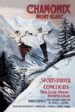 Chamonix Mont-Blanc, Skiing Giclée-tryk af  The Vintage Collection