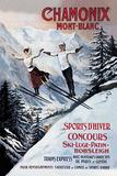 Chamonix Mont-Blanc, Skiing Impressão giclée por  The Vintage Collection
