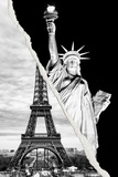 Dual Torn Posters Series - Paris - New York Photographic Print by Philippe Hugonnard