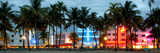 Buildings Lit Up at Dusk - Ocean Drive - Miami Beach Fotografisk tryk af Philippe Hugonnard