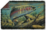 Wild Wings - Rainbow Trout 2 Woven Throw Throw Blanket