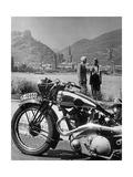 Ausflug mit dem Motorrad am Rhein, 1936 Fotografie-Druck von Scherl Süddeutsche Zeitung Photo