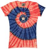 Juniors: Astros Spiral V-Neck Damen-T-Shirts mit V-Ausschnitt