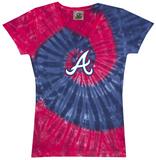 Juniors: Braves Spiral V-Neck Damen-T-Shirts mit V-Ausschnitt