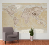 2015 Neutral Map Wallpaper Mural Papier peint