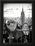 Telescope on the Obervatoire Deck, Top on the Rock at Rockefeller Center, Manhattan, New York Framed Photographic Print by Philippe Hugonnard