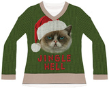 Womens Long Sleeve: Jingle Hell Cat Ugly Xmas Sweater Tee Womens Long Sleeves