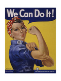 We Can Do It!' World War 2 Poster Boosting Morale of American Women Contributing to the War Effort Giclée-Premiumdruck