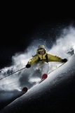 Night Skiier on Les Arcs French Alps Foto