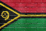 Flag of Vanuatu on Brick Wall Photographic Print by Carsten Reisinger