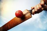 Cricket Player Hitting Ball Fotografisk trykk av Brian Jackson