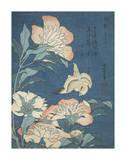 Peonies and Canary Plakater af Katsushika Hokusai