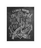 I Could Travel The World & The Ocean Blue... Giclee-trykk av LLC., Lily & Val