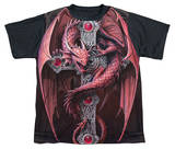 Youth: Anne Stokes - Gothic Guardian Black Back T-Shirt