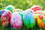 Hand Painted Easter Eggs on Grass. Spring Patterns Art, Unique. Photographic Print by Michal Bednarek
