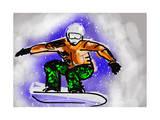 Hand Draw Snowboarding Print by  jim80