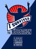 Marathon Runner Survived Poster Retro Prints by patrimonio designs