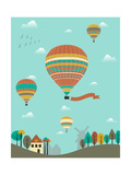 Hot Air Balloons over the Country. Pôsters por  Ladoga