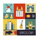 Symbols of Barcelona. Kunstdrucke von  Ladoga