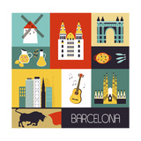 Symbols of Barcelona. Art by  Ladoga