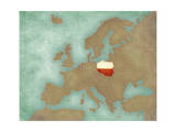 Map of Europe - Poland (Dark) Prints by  Tindo