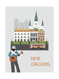 Man in New Orleans. Vector Posters por  Ladoga