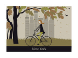 Woman on the Bicycle in New York. Vector Pôsters por  Ladoga