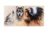 Beautiful Airbrush Painting of an Young Indian Warrior Accompani Lámina por  jozefklopacka