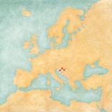 Map of Europe - Croatia (Vintage Series) Art by  Tindo