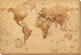 Antique World Map Pingotettu canvasvedos