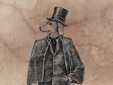 Dog Gentleman with Vintage Textile Lámina giclée prémium por  tannene