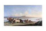 Attachment of Horses Pulling Boats Down the Rhone, C1825-1870 Lámina giclée por Alexandre Dubuisson