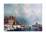 Frozen River, 1787-1870 Giclée-Druck von Andreas Schelfhout