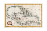 Map of the West Indies, 18th Century Giclée-tryk af  Barlow