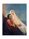 St Augustine with His Mother St Monica, 1855 Reproduction procédé giclée par Ary Scheffer