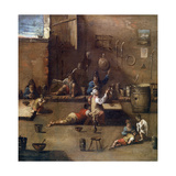 Dog Training, C1690-1745 Giclée-tryk af Alessandro Magnasco