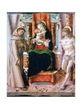 The Virgin and Child with Saints Francis and Sebastian, 1491 Giclée-vedos tekijänä Carlo Crivelli