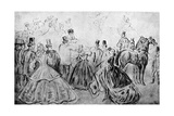 The Promenade, 19th Century Giclee Print by Constantin Guys