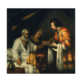 Isaac Blesses Jacob, Early 17th Century Lámina giclée por Bernardo Strozzi